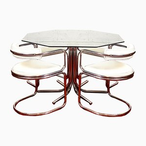 Octagonal Smoked Glass, Chrome, and Leatherette Dining Table & Chairs Set, 1970s, Set of 6