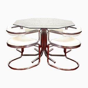 Tavolo da pranzo ottagonale in vetro fumé, metallo cromato e similpelle, anni '70, set di 6