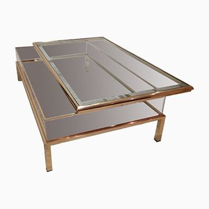 Vintage Brass Sliding Table from Belgo Chrom / Dewulf Selection, 1970s