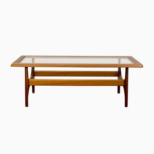Rectangular Teak and Glass Coffee Table from Stonehill, 1970s