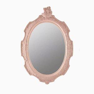 Espejo de pared de cerámica rosa de La Farnesiana Parma, años 70