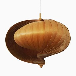 Shell-Shaped Wooden Pendant Lamp, 1960s