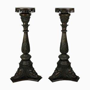 Antique Italian Bronze Torchiere Pedestals, Set of 2