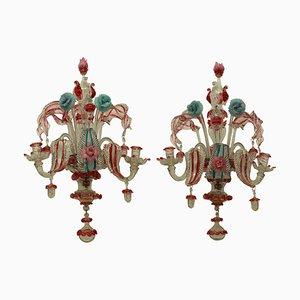 19th Century Murano Glass Sconces, Set of 2