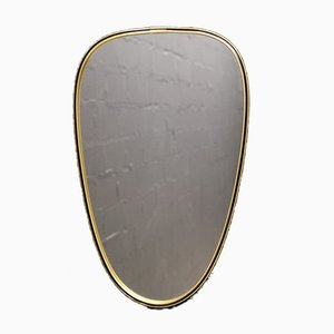 Small Italian Brass Mirror, 1950s