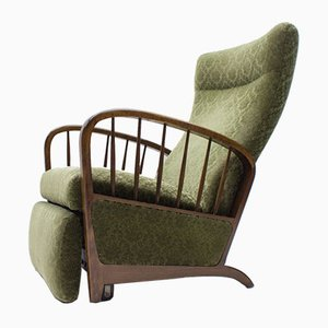 Mid-Century Green Lounge Chair with Armrests, 1950s