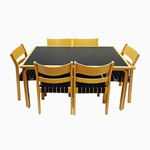 Set da pranzo Koldinghus in legno curvato di Hans J. Wegner, anni '80, set di 7