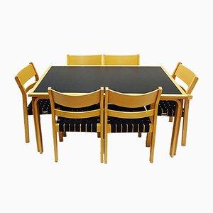 Set Table de Salle à Manger Koldinghus & Chaises en Bois Courbé par Hans J. Wegner, 1980s, Set de 7
