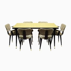Mid-Century Italian Butterfly Dining Table & Chairs Set, 1950s, Set of 7