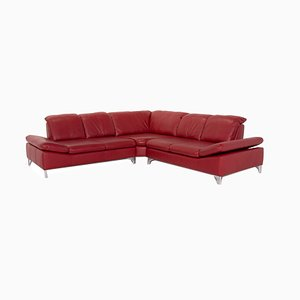 Red Leather Corner Sofa from Willi Schillig