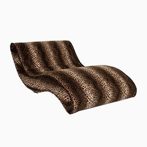 Brown Leopard Pattern Fabric Lounger from Bretz