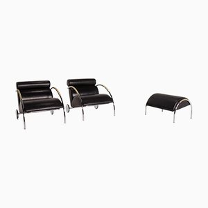 Black Leather Cycle Armchair & Stool by Peter Maly for Cor, Set of 2