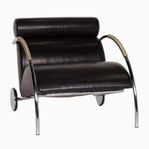 Black Leather Cycle Armchair by Peter Maly for Cor