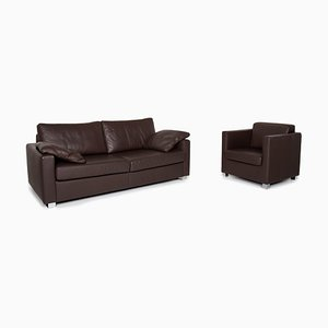 Dark Brown Leather 2-Seat Sofa & Armchair from Ewald Schillig, Set of 2