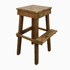 Vintage Industrial Wooden High Stool