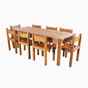 Elm & Leather Rectangular Dining Table & Chairs Set from Maison Regain, 1960s, Set of 9