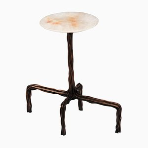 Dark Bronze Side Table with Onyx Top