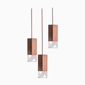 Wood Trio Chandelier in Marble by Formaminima