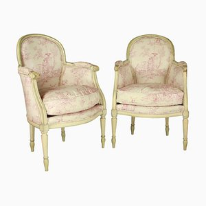 19th Century French Louis XVI Style Painted Wood Armchairs or Bèrgères, Set of 2