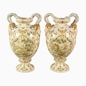 19th Century French Moustiers Style Faience Mythological Baluster Vases, Set of 2