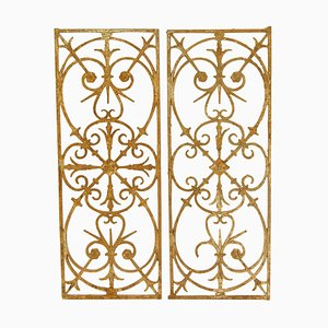 18th Century Louis XVI Wrought Iron Fence Elements or Window Grills, Set of 2
