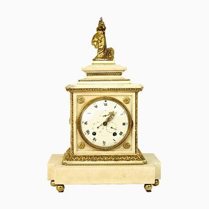 Large 18th Century Louis XVI White Marble Mantel Clock Representing Athena