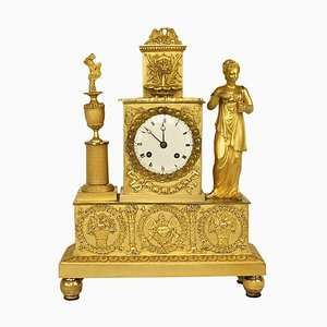 Empire Ormolu Figural Mantle Clock of the Goddess Flora
