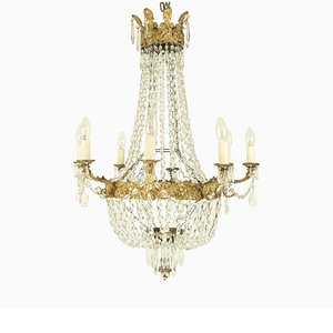 Late-19th Century French Gilt Bronze Basket Chandelier
