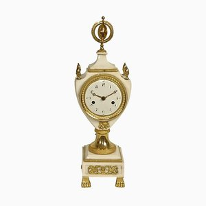 Louis XVI White Marble and Gilt-Bronze Mantel Clock