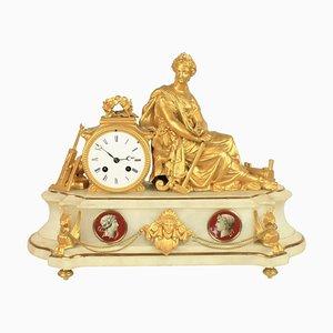Horloge de Manteau 19ème Siècle en Albâtre, France