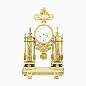 Late-18th Century Louis XVI Carrara and Black Marble Ormolu Portico Mantle Clock