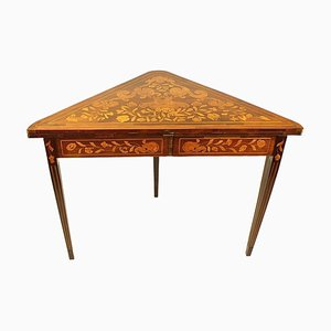 Early-19th Century Dutch Mahogany and Floral Marquetry Game Table