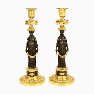 Empire Ormolu and Patinated Bronze Candlesticks in the Style of C.Galle, Set of 2