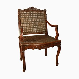 Regence Carved and Caned Armchair or Fauteuil, 1720s