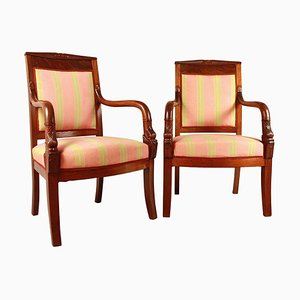 Empire Mahogany Armchairs in the Style of Pierre Bellange, Set of 2