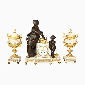 19th Century Louis XVI Style Clock Garniture Set
