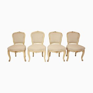 19th Century Louis XV Painted Side Chairs Attributed to J.B. Mouette, Set of 4