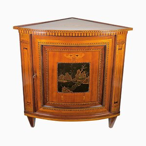 18th Century Louis XVI Marquetry and Lacquer Corner Cabinet or Encoignure