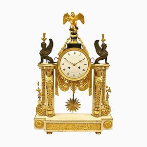 Late-18th Century Louis XVI White Marble and Ormolu Mounted Mantel Clock