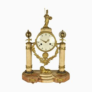 Late 18th Century Marble and Gilt-Bronze Mantel Clock Representing Pallas Athena