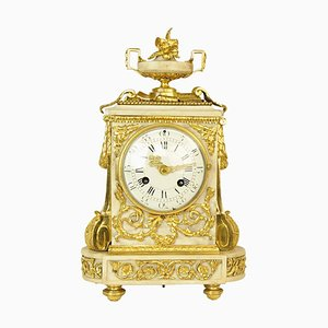 18th Century Louis XVI Gilt-Bronze and White Marble Mantel Clock, 1780s