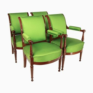 Mahogany Armchairs in the Style of Henri Jacob, 1795, Set of 4