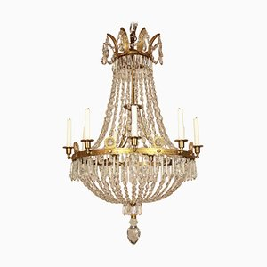 Early-19th Century French Empire Crystal-Cut and Gilt-Bronze Basket Chandelier