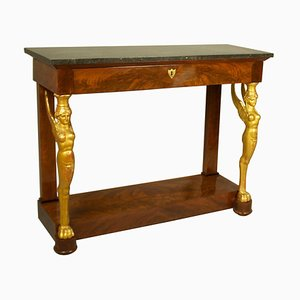 Early-19th Century French Empire Mahogany and Giltwood Sphinx Console Table