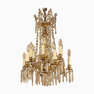 19th Century French Louis XVI Style 12-Light Gilt Bronze & Cut Crystal Chandelier