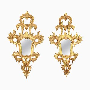 18th Century North Italian Rococo Giltwood Mirrors, Set of 2