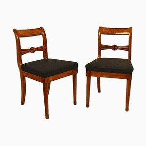 19th Century Biedermeier Fruitwood Side Chairs, Set of 2