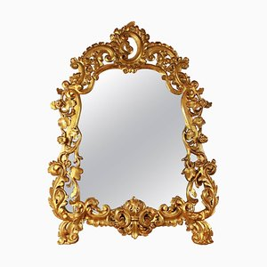 Early-18th Century Italian Cartouche-Shaped Giltwood Mirror