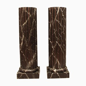 Italian Painted Black Faux Marble Columns Pedestals, Set of 2