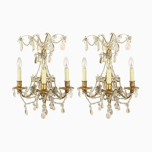 Regency Style 3-Branch Wall Sconces from Maison Bagues, 1900s, Set of 2